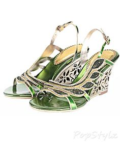 Honeystore Handmade Leaf Shaped Rhinestone Leatherette Wedge Sandal
