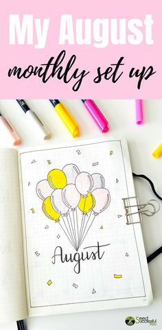 August Plan With Me Bullet Journal August Bullet Journal Cover, Bullet Journal Set Up, Bullet Journal Ideas Pages, Bullet Journal Layout, Bullet Journal Inspiration, Creating A Bullet Journal, Idee Diy, Birthday Month, Journal Covers