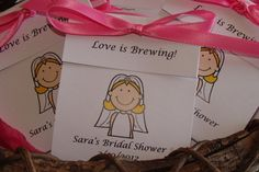12  Bride Cartoon Personalized Tea Bag Favors Cute by SuLuGifts
