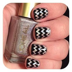 Zig zag stamping nail art using L' Oreal: Masked Affair as a base, stamped the black with a Bundle Monster plate
