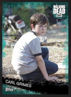 Carl Grimes (Teal Parallel) Insert Card The Walking Dead 2016 Topps