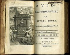 Second Volume of a 1727 edition of Ovid's Metamorphoses. From Bibliophilia at Twitter.