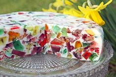 """shattered glass/jello 'cake'"". I made this last summer, and as a number of peeps asked how to do this, here is the original JELL-O recipe version: http://www.jello.com/recipe/mosaic-dessert-bars * happy weekend!* (decrease the amount of water a bit to make a firmer 'cake')"