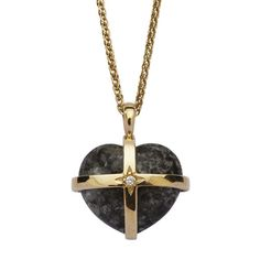 18ct Gold, Bluestone & Diamond Heart Pendant made by hand from authentic Bluestone. Buy online at English Heritage. Heart Of Gold, Diamond Heart, 18 Inch Gold Chain, English Heritage, Gold Cross, Carat Gold, Pembrokeshire Wales, Diamond Pendant, Gold Chains