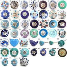 Ornamental Ceramic Door Knobs, Various Blue & Turquoise Designs, Kitchen Cabinet, Cupboard or Drawer Pulls