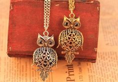 Round hollow owl pendant nacklace