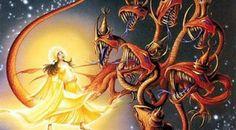 Art by Rodney Matthews. Depicts The Woman Of Revelation 12 And The Dragon (Satan). Revelation 10, Matthew Bible, Religion, Humanoid Creatures, Spiritual Warfare, Red Dragon, Bible Art, Bible Verses, Christian Art