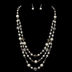 This lovely set is detailed with decorative light brown, white and smoke pearls with Austrian crystal beads in a gold setting. A gorgeous pearl necklace and earrings set that is a perfect accessory to White Pearl Necklace, Crystal Necklace, Pearl White, Crystal Beads, Rose Jewelry, Bridal Jewelry, Jewelry Sets, Pearl Jewelry, Gold Light
