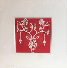 Christmas Papercut  Floral Reindeer by SundayApplePapercuts