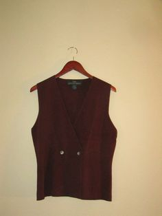 vintage brown doublebreasted vest with scalloped by mellowrabbit, $22.00
