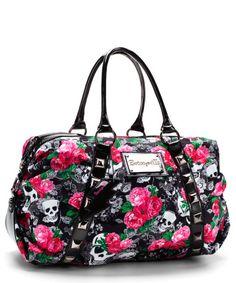 Skulls Lace Satchel on Chiq $98.00 : Buy Trends on CHIQ.COM http://www.chiq.com/betsey-johnson/skulls-lace-satchel