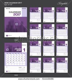 Purple Cover Desk Calendar 2018 Design polygon background template ...