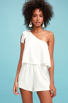 Fate has brought you and the Destined for Chicness White One-Shoulder Romper together! Breezy woven fabric ties atop a single shoulder flounce bodice, with elasticized waist, and relaxed shorts. Dressy Rompers And Jumpsuits, Blue Jumpsuits, Cute Rompers, Jumpsuits For Women, White Romper, Lace Romper, Long Sleeve Romper, Playsuit, White Dress