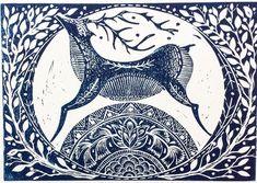 Winter Deer original Lino print