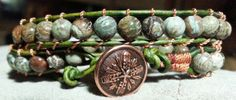 Lake agate stone beads with antiqued green leather with copper colored metal shank button - sold