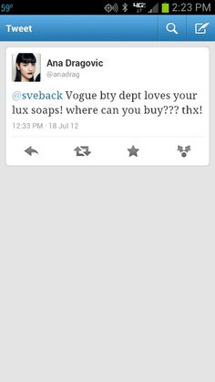 VOGUE Beauty announcing they love my LUX Soap on Twitter