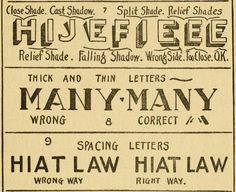 shadowing, line thickness, & letter spacing ~ How to paint signs and sho' cards, E.C. Matthews,1920