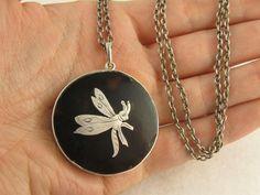 Unusual Antique Pique Silver 'Butterfly' Pendant & Chain Necklace