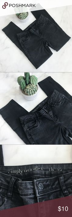 Simply Vera by Vera Wang Black Skinny Jeans Pre-loved am showing some signs of wear. Color has started to fade, Please see pics. No stains, snags, or, tears upon inspection. (001-shelf)   PRODUCT DETAILS: •Size: 3 / 4 •Colors: Black •Made in Cambodia •Measurements: Length-38inch Inseam-28inch Rise-8.5inch Waist-15inch •55% cotton, 26% rayon, 17% polyester, 2% spandex •Machine Wash •Skinny Style •4 Pockets •Zip And Button Fly  • • •  Tags: Simply Vera Vera Wang Jeans Skinny