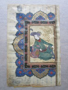 Artist: school of: Riza Abbasi, Iranian, ca. 1565–1635 A Prince Reclining against a Bolster ca. 1650 Opaque watercolor and gold on paper Miniature: 15.7 x 10.5cm (6 3/16 x 4 1/8in.) Leaf: 34 x 21.5cm (13 3/8 x 8 7/16in.) Gift of Mary Burns Foss 1983.94.16 - See more at: http://artgallery.yale.edu/collections/objects/prince-reclining-against-bolster#sthash.6xlkDH61.dpuf