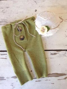 Darling olive green pants with button detail. Comes with matching tieback for a girl set 6-9 month size and ooak Was $42
