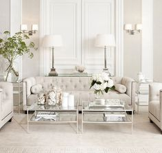 Weiß Wohnzimmer White Living Room Living Room White living room is a design that is very popular today. Design is All White Room, Living Room White, White Rooms, Formal Living Rooms, Living Spaces, Living Room Decor Elegant, Modern Living, Classic Living Room, Living Room Contemporary