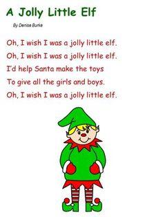 Christmas song with printable lyrics sheet for kids - A Jolly Little Elf. Preschool Christmas Songs, Christmas Poems, Preschool Music, Christmas Songs For Toddlers, Christmas Crafts, Preschool Learning, Christmas Activities, Christmas Elf, Rhymes Songs
