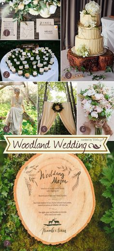 Elegant woodland weddings inspiration board from a rustic cake to a menu on a cut wooden slab in a palette of neutral colors. #inspirationboards #weddings #weddinginspirationboards