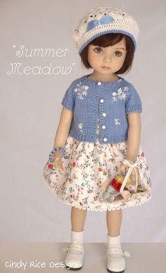 Little Darlings 2 Knitting Dolls Clothes, Crochet Doll Clothes, Knitted Dolls, Girl Doll Clothes, Doll Clothes Patterns, Barbie Clothes, Doll Patterns, Clothing Patterns, Girl Dolls