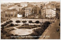 Plaza de Pontevedra 1957 Plaza, Homeland, Sidewalk, Painting, Antique Photos, Cities, Fotografia, History, Walkway