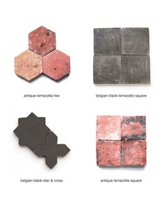 Above, antique terracotta and belgian black french reproduction terracotta from Clé Tile, part of their brand new collection. The tiles' rustic surfaces already carry a patina that otherwise comes from age.