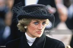 Diana Princess of Wales wears a Viv Knowlands veiled hat during an... News Photo | Getty Images