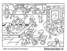 Kleurplaat kleuters spelen op het schoolplein, kleuteridee , Preschool playing…