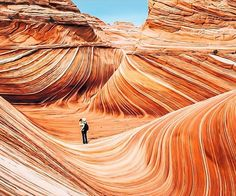 Coyote Buttes, an area of colored, eroded, strata and rock formations, around the Arizona Utah border near the Paria River, featuring The Wave.