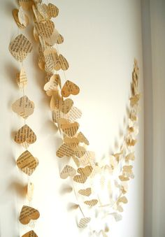 Old book paper garland Wedding decoration  Paper by pitsispopis, $10.00