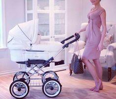 Cute white, baby stroller