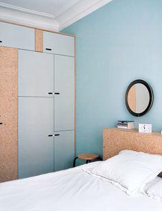 built in bedroom storage Blue Rooms, Blue Bedroom, Sinnerlig Ikea, Scandinavian Interior Bedroom, Woman Bedroom, Home Wallpaper, Bedroom Storage, Interior Inspiration, Interior Architecture