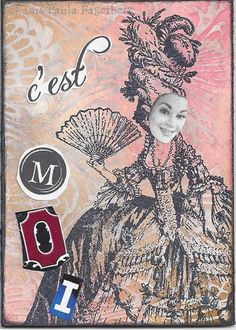 Self-Portrait (c) Paula Fagerberg | by PaulaF (MuseOfMixedMedia) Theme: Self-portrait ATC  Materials: Rubber stamps, acrylic paint, dye inks, collage