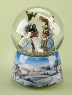 "Pack of 2 Musical Holy Family Christmas Nativity Snow Globe Glitterdomes by Roman. $81.99. From the Glitterdomes CollectionItem #39324Features the Nativity scene inside of a glitterdome, atop a base depicting the arrival of the Three Wise Men and a Shepherd at Bethlehem.Winds up to play the tune ""O Little Town Of Bethlehem""Dimensions: 5.75""H x 4""W x 4""DMaterial(s): Resin/GlassPack includes 2 of the item shown. Save 12% Off!"