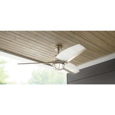 Home Decorators Collection Escape II 60 in. LED Indoor/Outdoor Brushed Nickel Ceiling Fan with Light Kit and Remote Control 34315 - The Home Depot Traditional Ceiling Fans, Brushed Nickel Ceiling Fan, Nautical Looks, Marble Vanity Tops, White Sink, Bath Vanities, Frosted Glass, Decor Styles, Indoor Outdoor