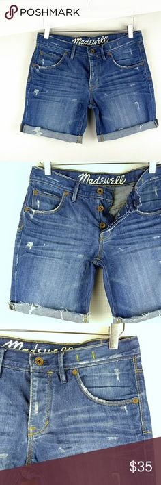 "Madewell Cutoff Denim Shorts size 27 Madewell Cutoff Denim Shorts size 27 In excellent condition. 100 % cotton. Light distressing. Can be worn straight or folded. Approximate measurements: - Across waist: 16"" - Rise: 9"" - Inseam 8"" Madewell Shorts Jean Shorts"