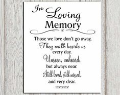 In Loving Memory Of Print Memorial Table Wedding By Dorindaart