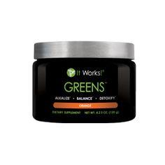 Greens™ – Orange | It Works Multiple servings of fruit and vegetables in each scoop! All Natural. Greens it works