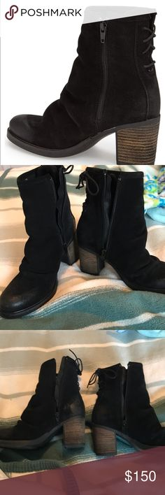 Bos & Co. Black Suede Booties My mom bought these but they hurt her foot due to her foot problem. They've been worn only a few times and are basically like new. I think this is the same company or sister company of Fly London. Bos. & Co. Shoes