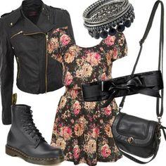 Doc Martens, petite robe fleurie, blouson cuir, perfecto, besace