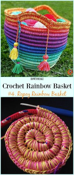 "Ropey Rainbow Basket Free Crochet Pattern -  <a href=""/tag/Crochet"">#Crochet</a> Rainbow  <a href=""/tag/Basket"">#Basket</a> Free Patterns"