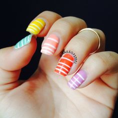 colourful pastel #stripes nails   striped #nailart white + color (mint, yellow, peach, orange, lavender) @nailsofsteel