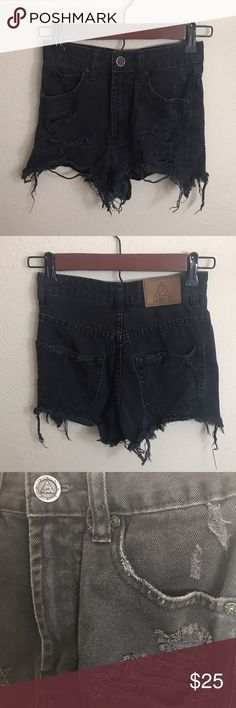 UNIF black distressed denim shorts Size 24 black distressed denim jeans from UNIF 🖤 Perfect for summer ☀️🕸 UNIF Shorts Jean Shorts
