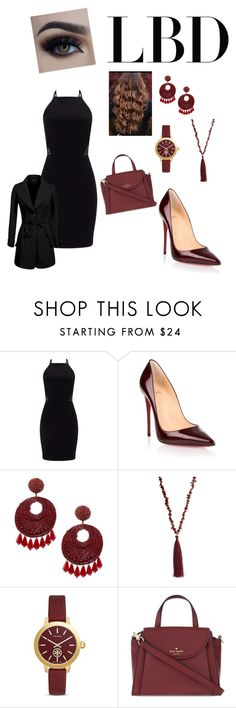 """""""Little black dress"""" by mayraflores534 ❤ liked on Polyvore featuring Miss Selfridge, Christian Louboutin, Kenneth Jay Lane, Mixit, Tory Burch, Kate Spade and LBD"""