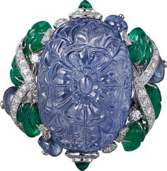 """CARTIER. """"Amritsar"""" Ring - platinum, one carved sapphire of 49.23 carats from Burma, cabochon-cut sapphires and emeralds, carved emeralds, brilliant-cut diamonds."""